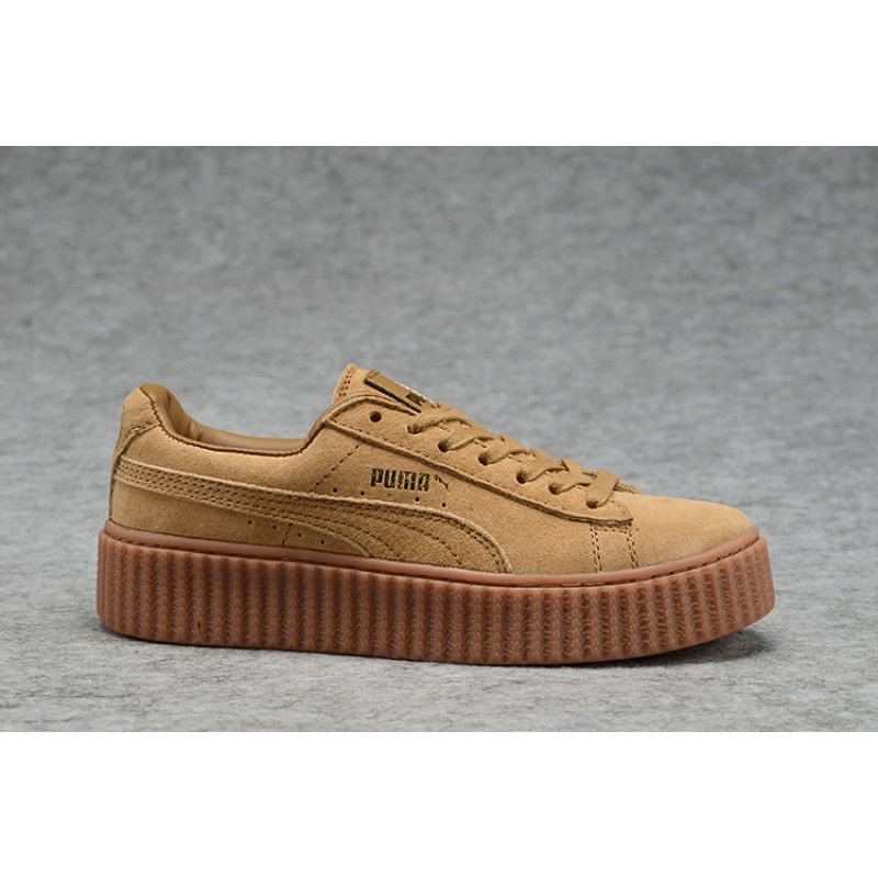 053d63fbd7c5 Mens Womens Fenty Puma By Rihanna Suede Creepers Shoes Brown Gold ...