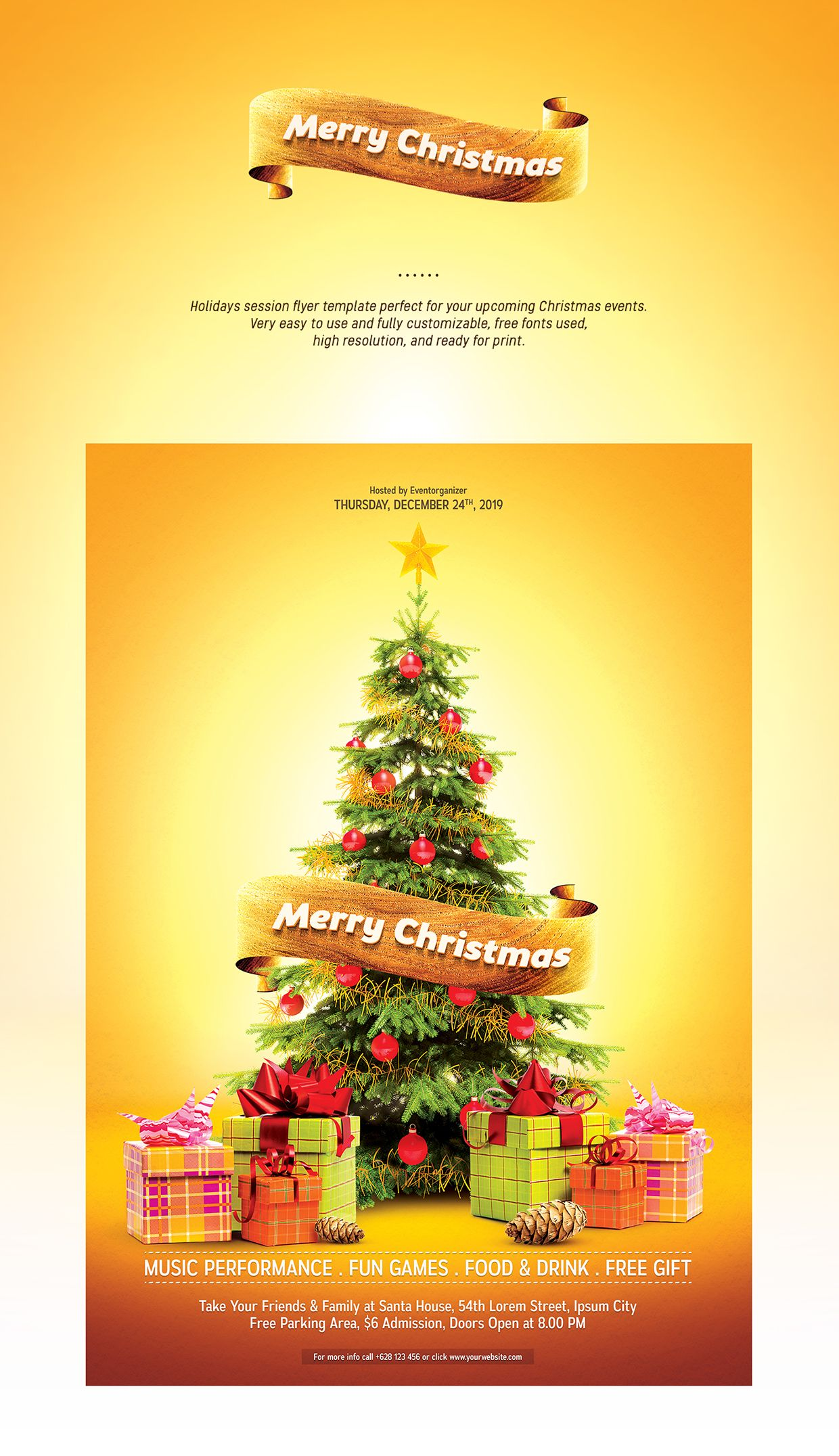 Merry Christmas Flyer Template On Behance  Christmas  Gift Duide