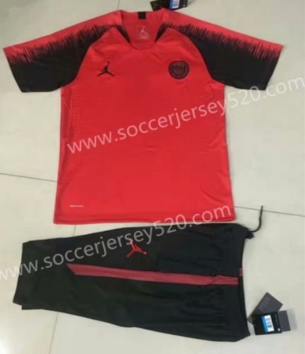 e3edf4c4da33 2018-19 Jordan Paris Saint-Germain Red Short Sleeve Thailand Tracksuit  Uniform-815