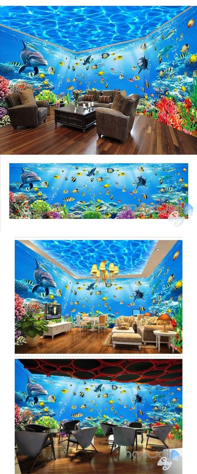 Underwater world theme space entire room wallpaper wall