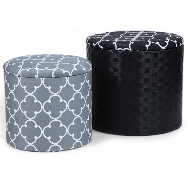 Groovy Adeco Grey And Black Fabric Round Storage Ottoman Set Of 2 Onthecornerstone Fun Painted Chair Ideas Images Onthecornerstoneorg