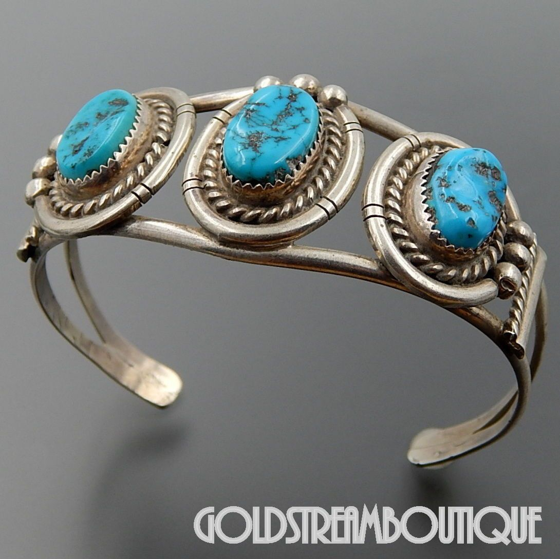 Boho Sterling Silver and Turquoise Cuff