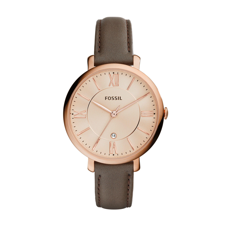 b5eda9a6270 Fossil Jacqueline Ladies  Grey Leather Strap Watch Relógios Da Fossil