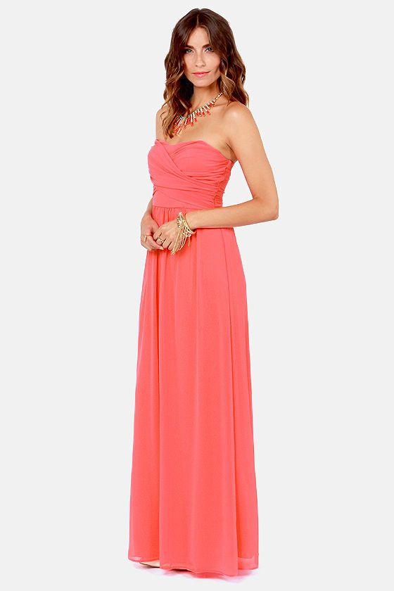 Lulus exclusive slow dance strapless peach maxi dress