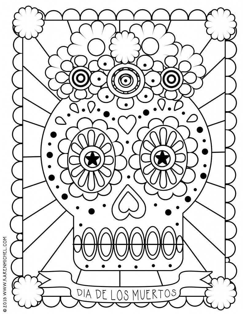 Dia De Los Muertos Coloring Sheet Skull Coloring Pages Coloring
