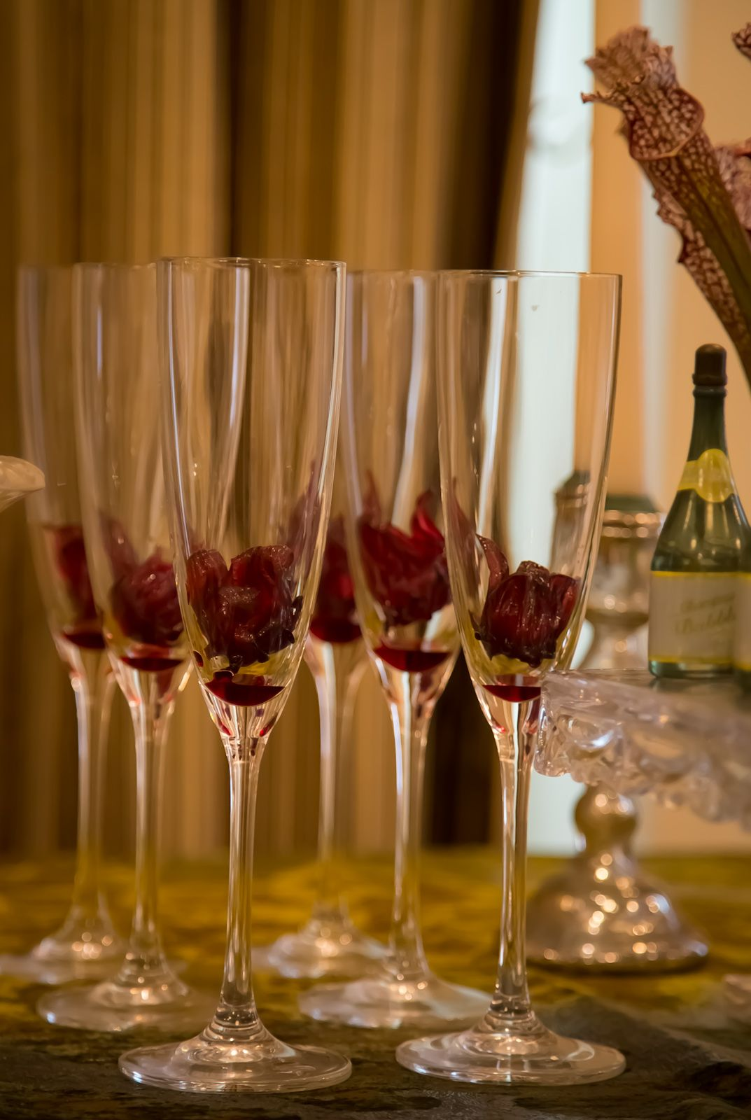 Hibiscus Flowers In Champagne Glasses For A Beautiful Drink When
