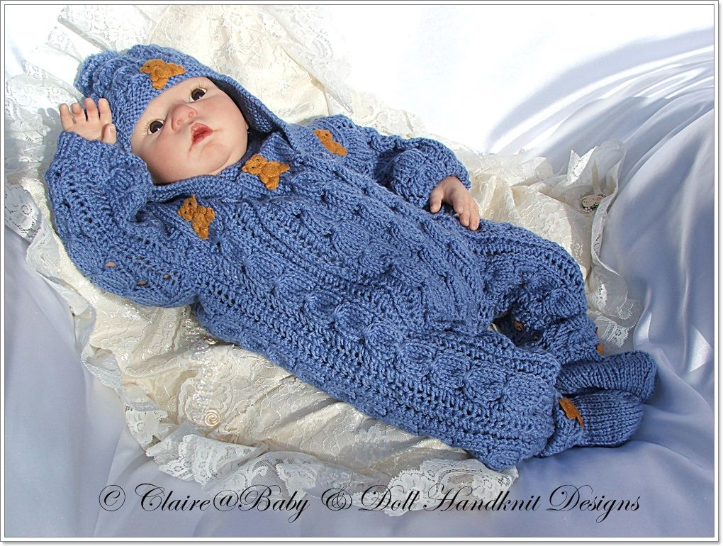 "BABY DOLLS KNITTING PATTERN BUNNY CARDIGAN SET FOR 16/""-22/"" DOLL 0-3 MONTH BABY"