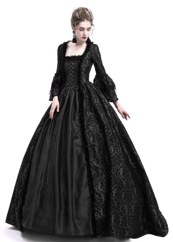 dfb7f7273e Womens Royal Retro Medieval Renaissance Dresses Lady Satin Masquerade Dress  Navy Blue
