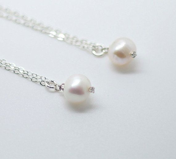 Fresh water Pearl Sterling Silver Necklace Gift for by AiryLoft, $17.00
