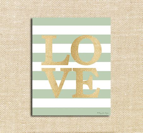 Gold Love Digital with stripes Printable Print for Wall Decor DIY ...