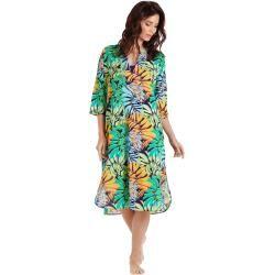 Photo of Women Ready to Wear – Abito lungo giungla solido realizzato in voile di cotone per donna – Cover-up – Fare – Blu