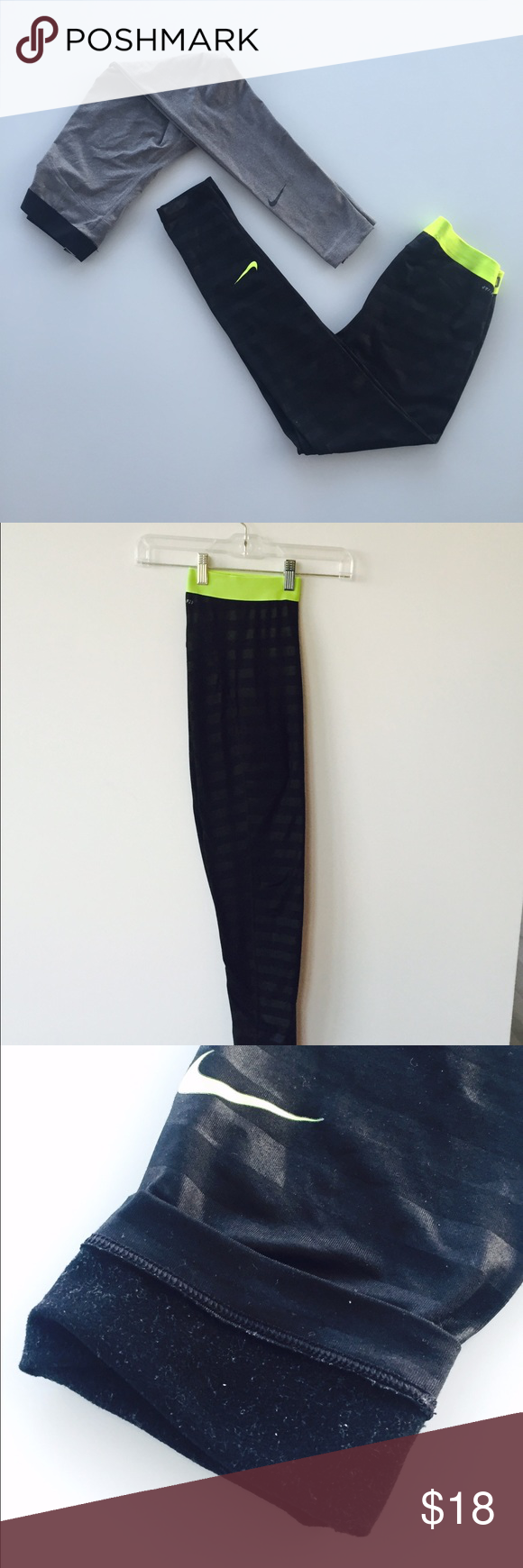 Nike black dri-fit polyester lined leggings Pre-loved! A little bit of faded wording and lint shown in last two pictures, will make sure it's in the best condition when it ships! Body: 12% spandex, 88% polyester. Lining: 100% polyester Nike Pants Leggings