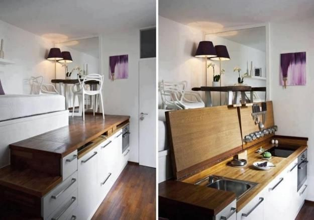 25 Space Saving Small Kitchens And Color Design Ideas For Small Spaces Small Kitchen Colors Tiny House Design Micro Apartment