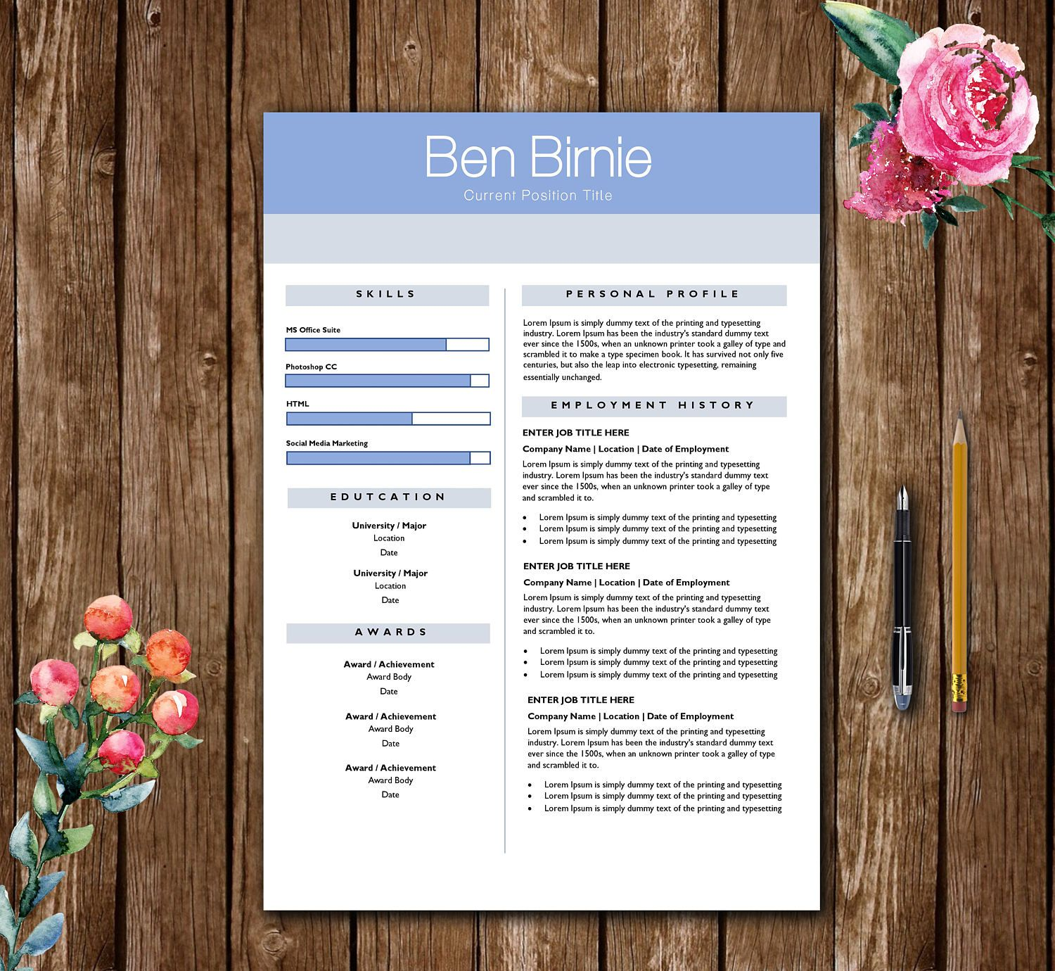 Creative Design Resume Template Resume Template For Word Cover