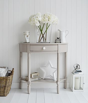 The Oxford grey half moon console table with drawer and shelf