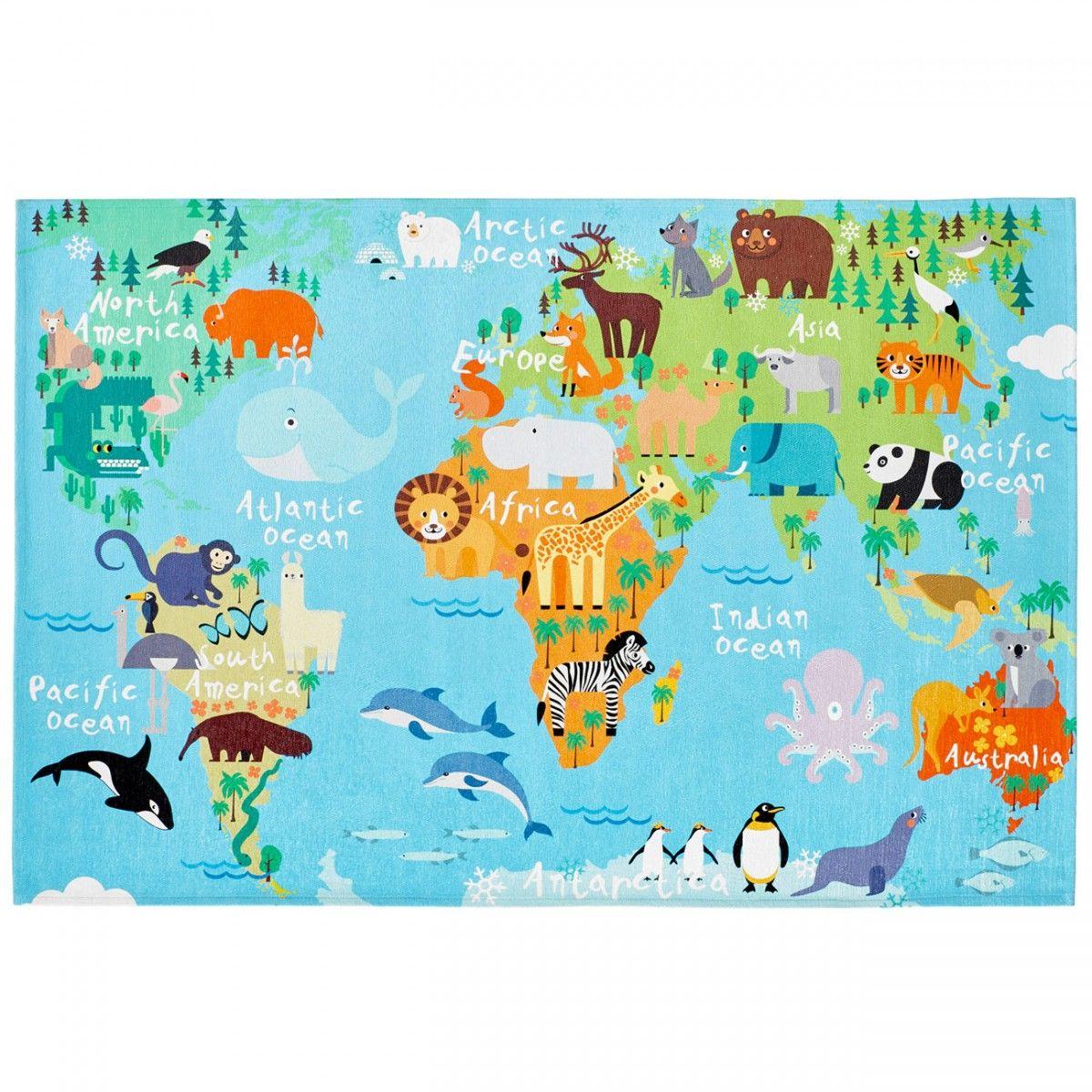 My Torino Kids Tok 233 World Map Rug Therugshopuk Nursery