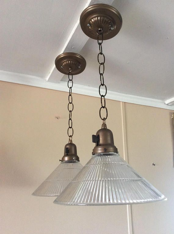 Vintage Chandelier Glass Lights Pendant Chandeliers Antique Brass Canopy Sconces 1930s