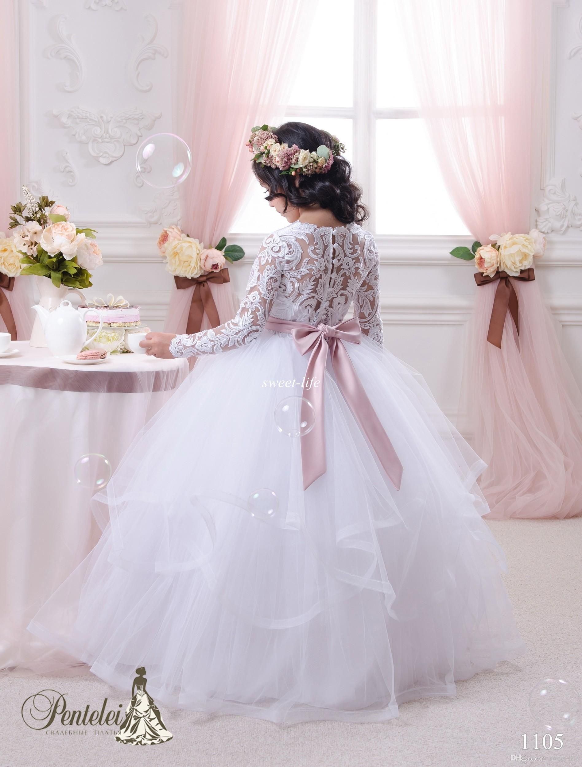 5a14361dce Vintage Lace Long Sleeves Flower Girls Dresses Ball Gown Tutu 2015 Blush  Sash Ruffles Floor Length Girls Pageant Dress Kids Communion Gowns