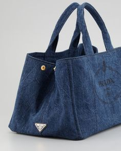 Prada Denim Small Gardeners Tote Bag, Blue