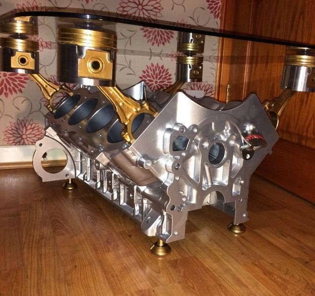 Chrome And Gold V8 Engine Coffee Table Side Table V12 Wine