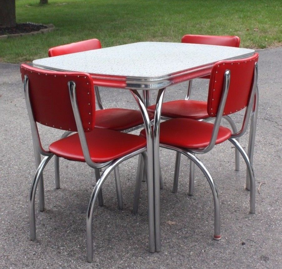 Red Kitchen Table And Chairs Set: Vintage 1950s Retro Formica Chrome Diner Kitchen Table