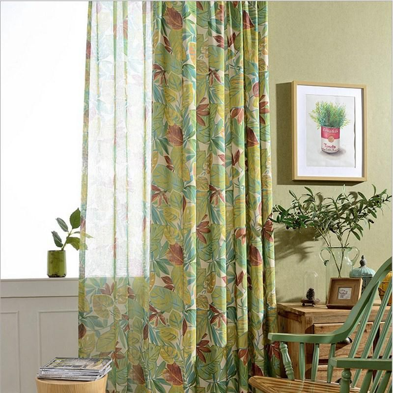 High Quality Finished Products Living Room Curtain Window Screening Luxury Designs Leaves Yellow Colorful New