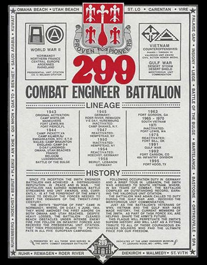 Main Plaque Of The 299th Combat Engineer Battalion Battalion Combat Give It To Me