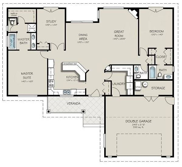 plano de casa moderna de una planta con dos dormitorios