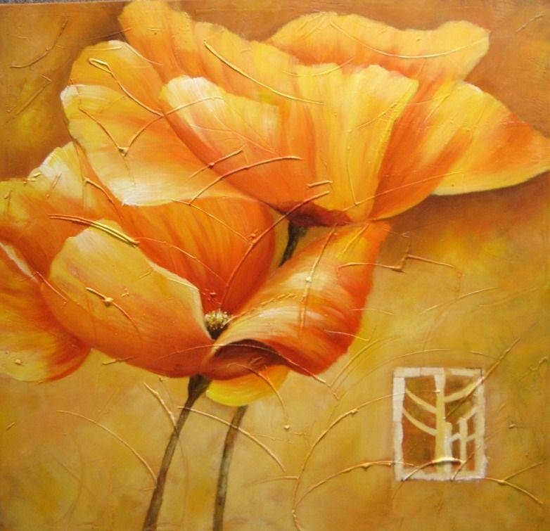 Peinture moderne fleur jaune tableau fleurs jaunes grands - Peinture fleur moderne ...