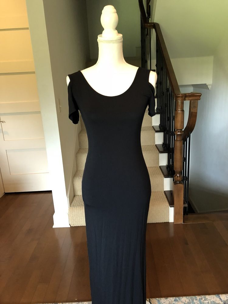 3264545d WOMENS BLACK MAXI DRESS SZ SMALL COLD SHOULDER SIDE SLIT #fashion #clothing  #shoes #accessories #womensclothing #dresses (ebay link)