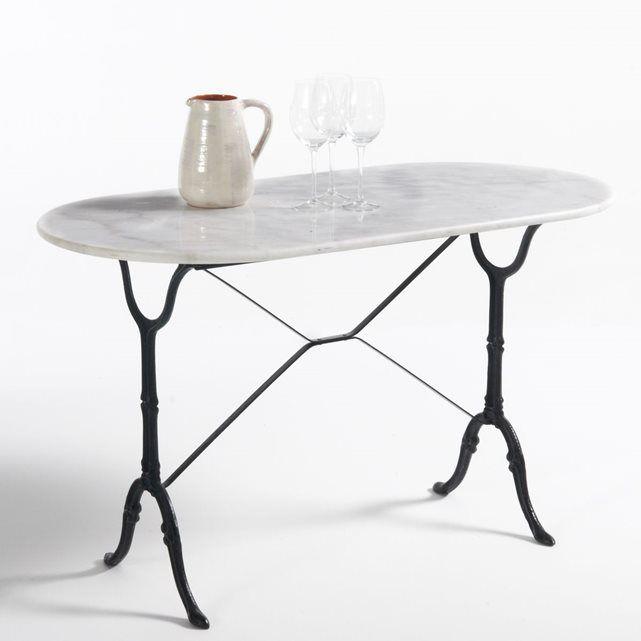 POUR LA CUSINE 120x60 // Table de jardin ovale, plateau marbre ...