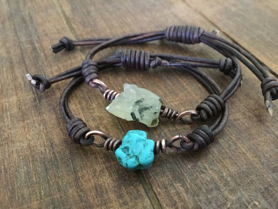 Amethyst Gemstone Leather Bracelet with copper by DESIGNbyANCE