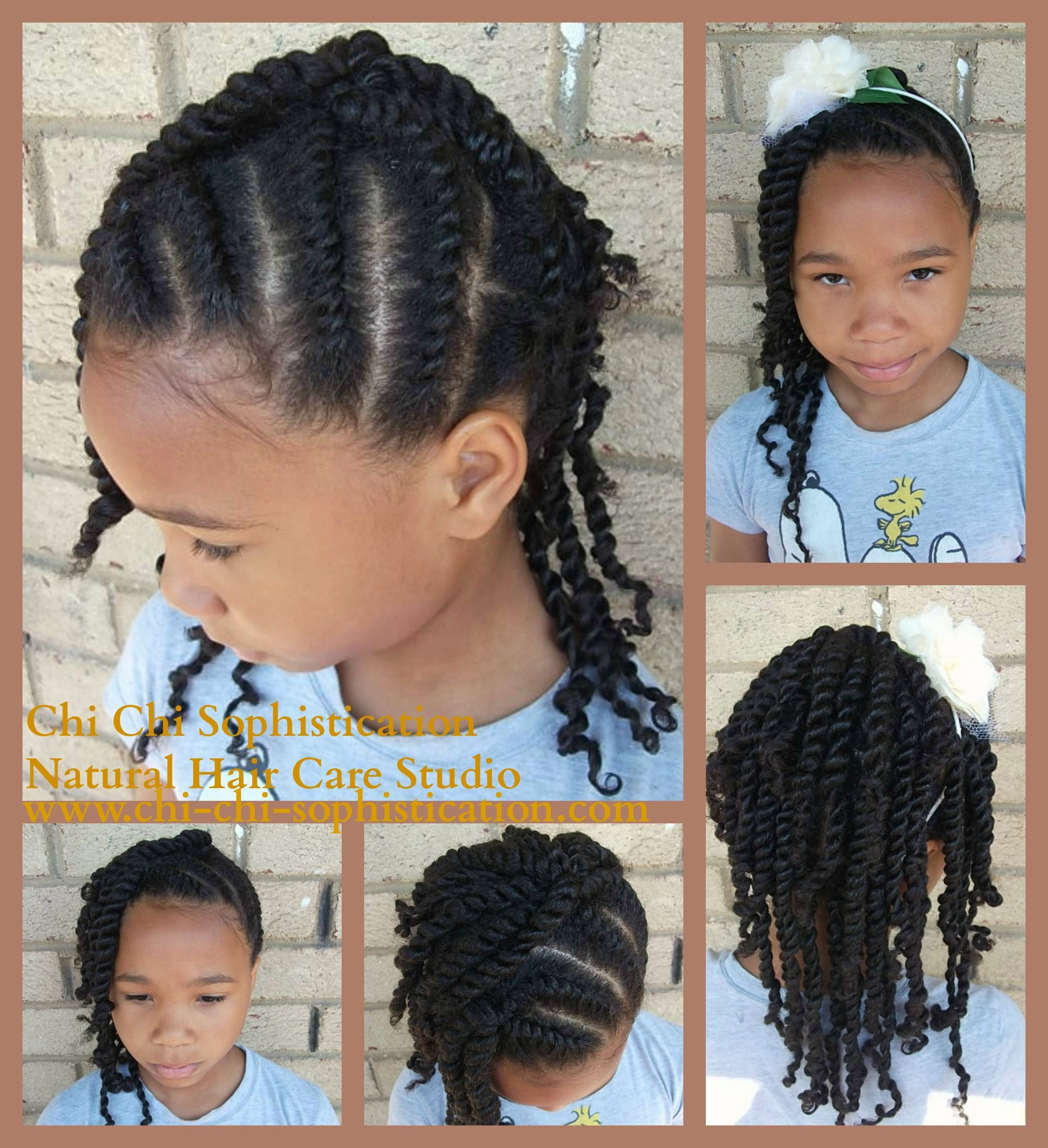 Natural Hair Style For Kids Large To Medium Flat Double Strand