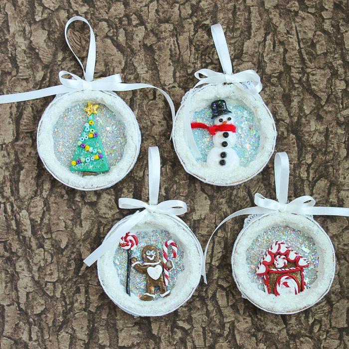Learn how to make Christmas ornaments from clay using this simple craft  tutorial! Glitter, oven bake clay, and an embroidery hoop combine into  gorgeous ... - How To Make Christmas Ornaments From Clay Christmas Tree Ornaments