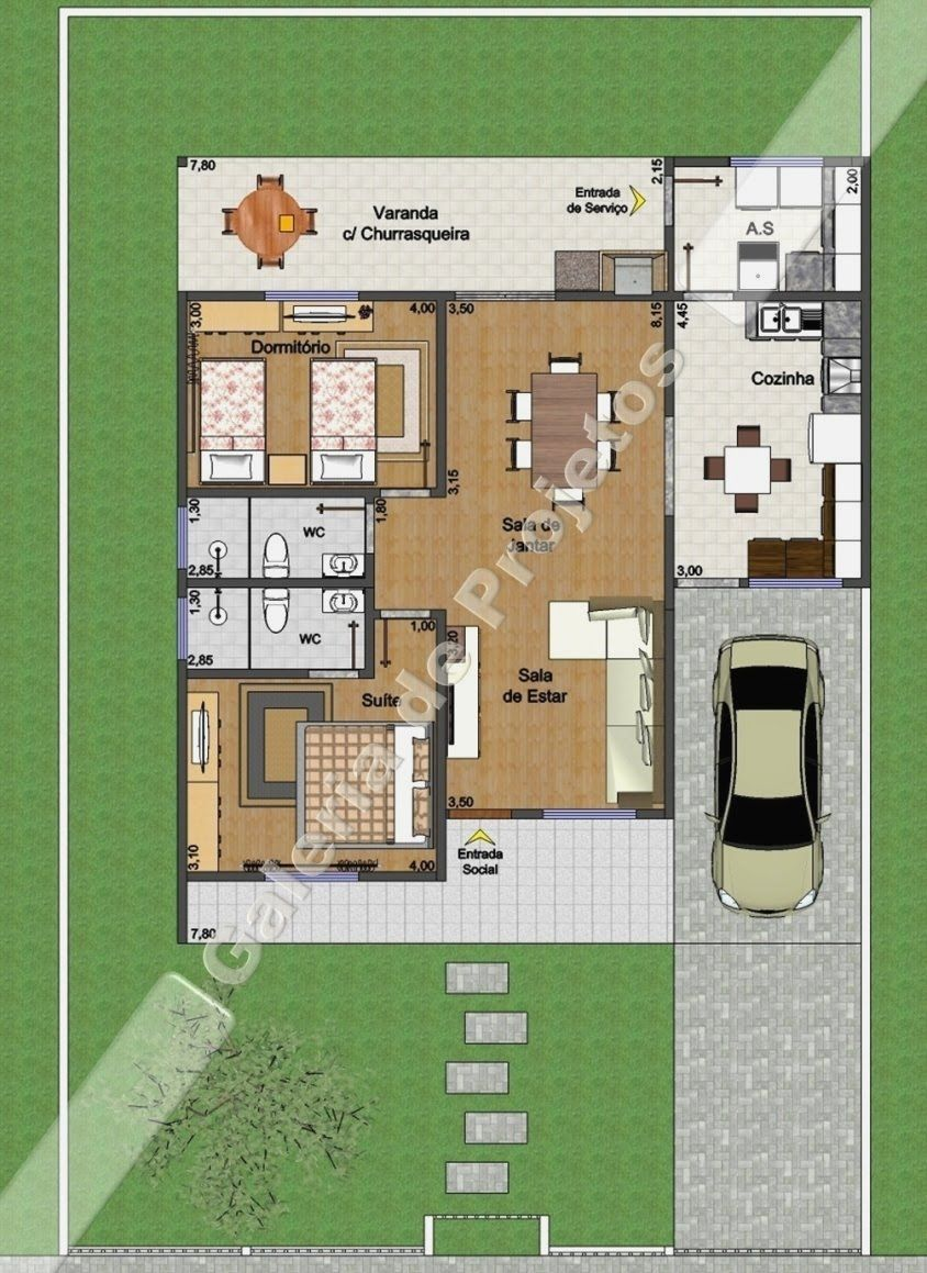 C D 003 Projeto Casa T Rrea 1 Quarto E 1 Su Te Galeria De Pro
