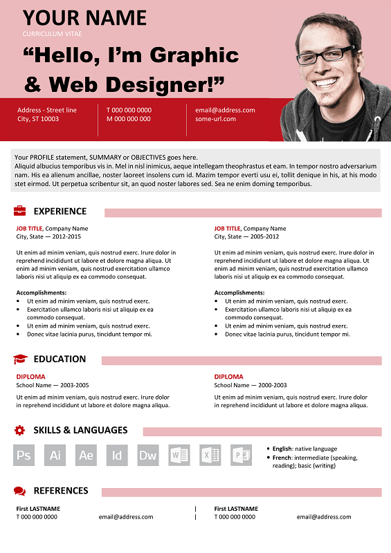 Astoria Free Resume Template Microsoft Word  Red Layout  Classic