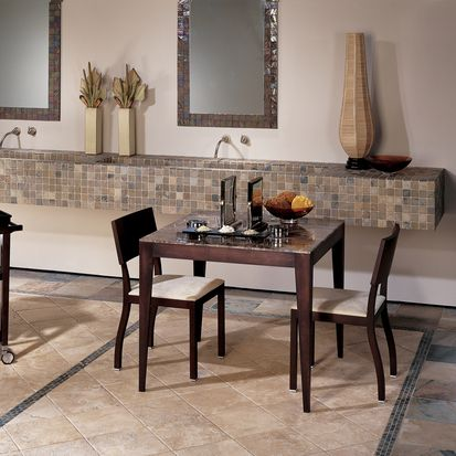 This American Olean Room Features Tumbled Stone Azteca 12