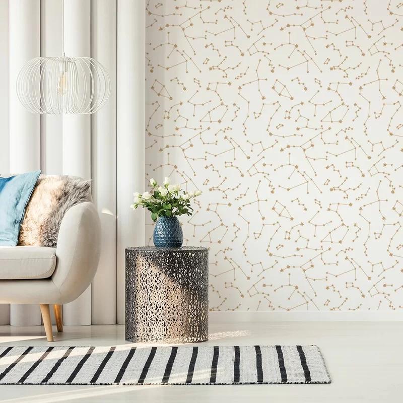Novogratz Constellations 16 5 L X 20 5 W Smooth Peel And Stick Wallpaper Roll Reviews Perigold Removable Wallpaper Wallpaper Trends Living Room Wall