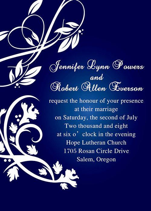 royal blue pocket wedding invitations with free rsvp cards ...