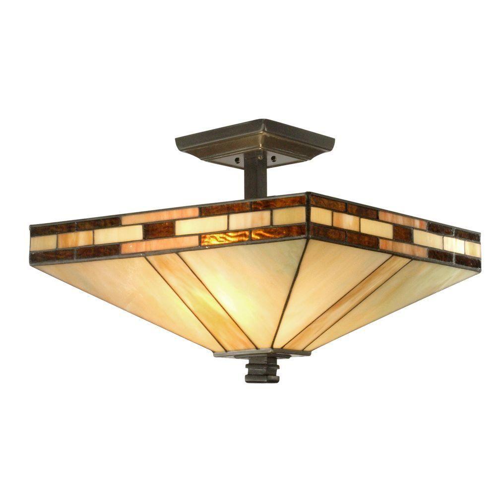 Dining Room Lighting Home Depot Ceiling Lights For Vintage: Dale Tiffany Mission 2-Light Antique Bronze Semi-Flush