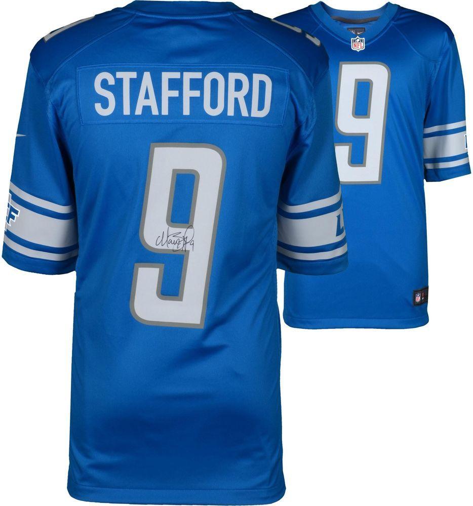 premium selection 76251 97396 Matt Stafford Detroit Lions Autographed Blue Nike Game ...