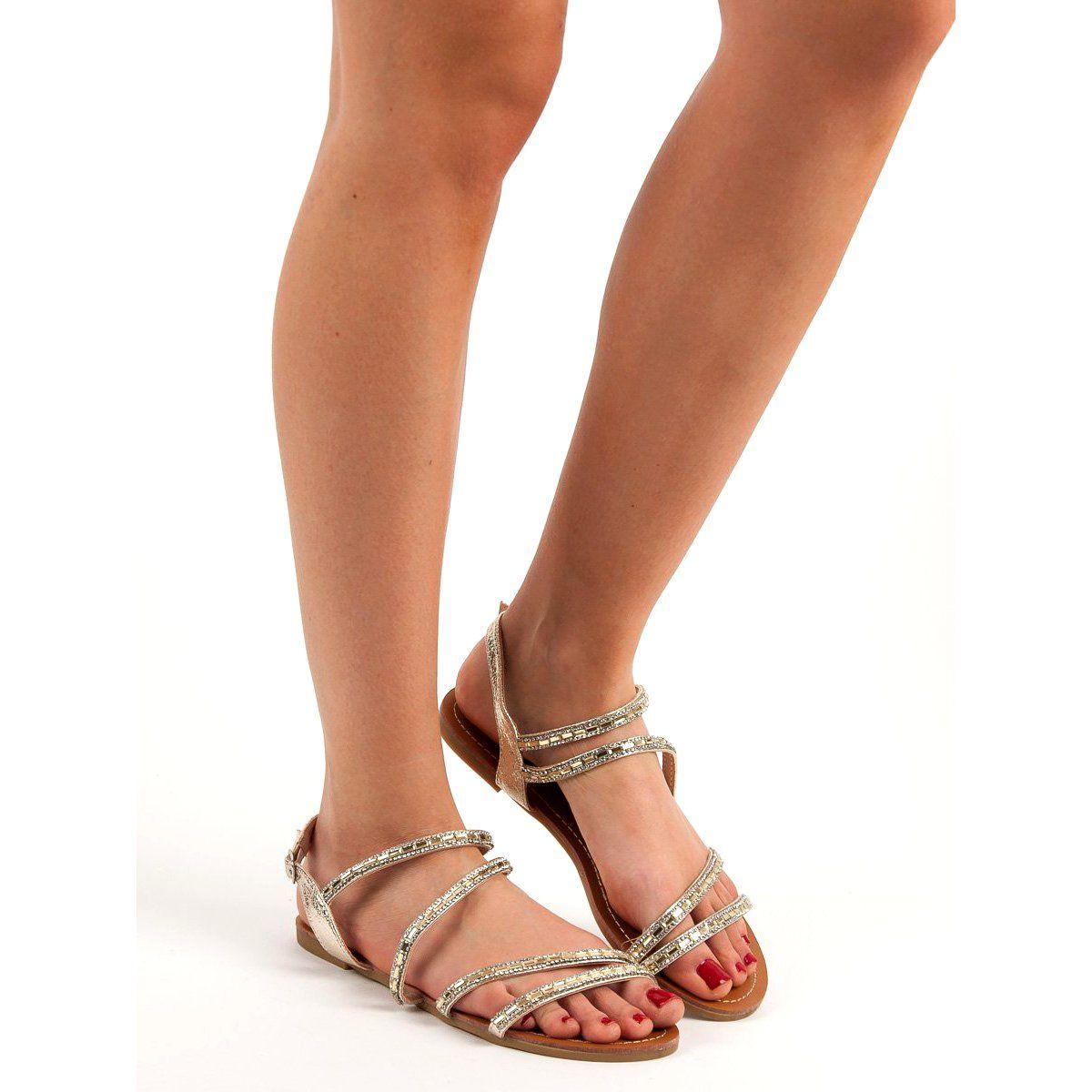 L Lux Shoes Plaskie Sandalki Z Cyrkoniami Zolte Shoes Fashion Mary Janes