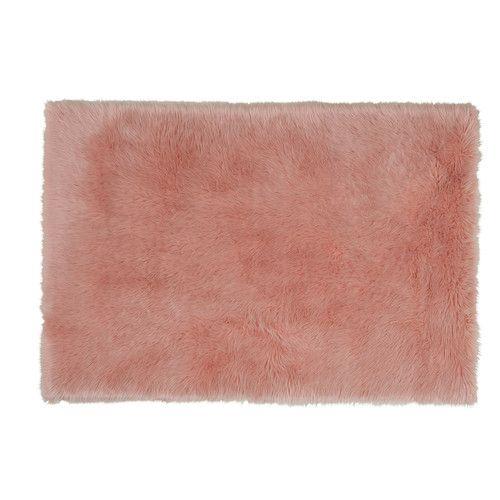 Tapis fausse fourrure rose 120 x 180 cm | Tapis fausse fourrure ...