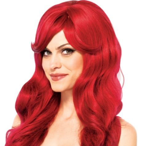 Wavy Long Red Wig Party City Red Wigs Human Hair Lace Wigs Ariel Wig