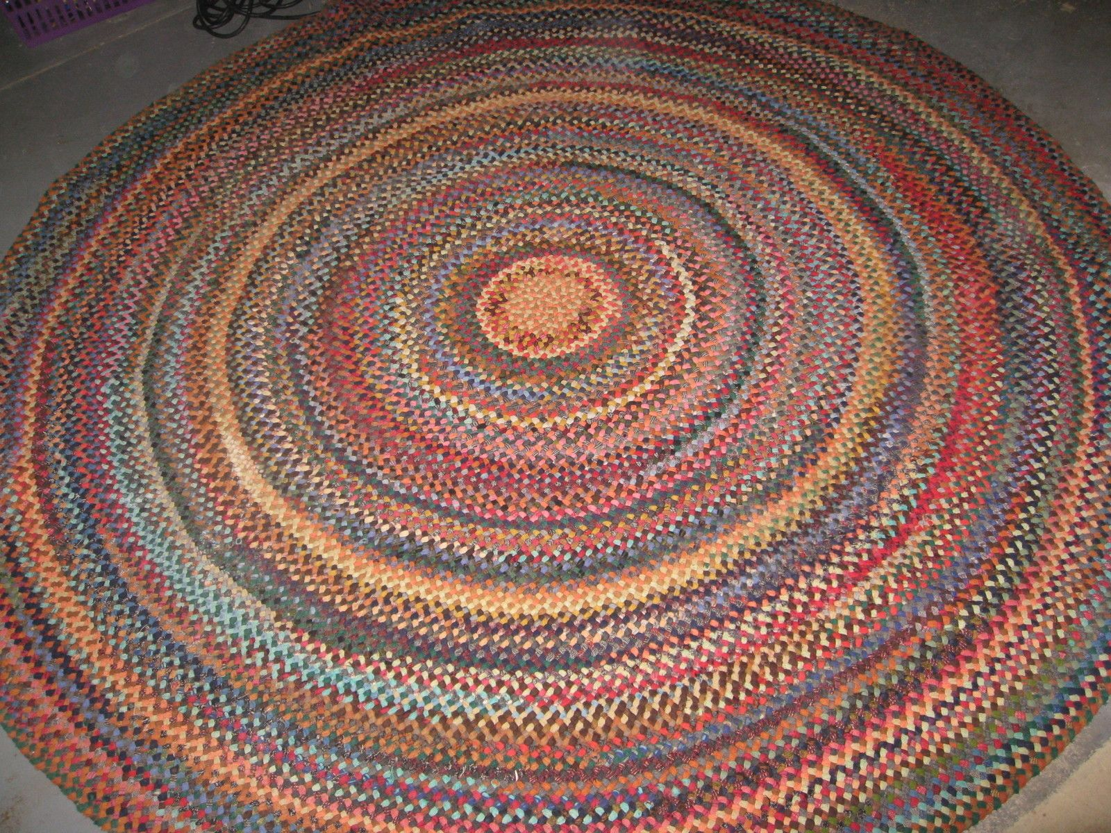 Gorgeous Vintage Multi Colored Round Wool Braided Rug