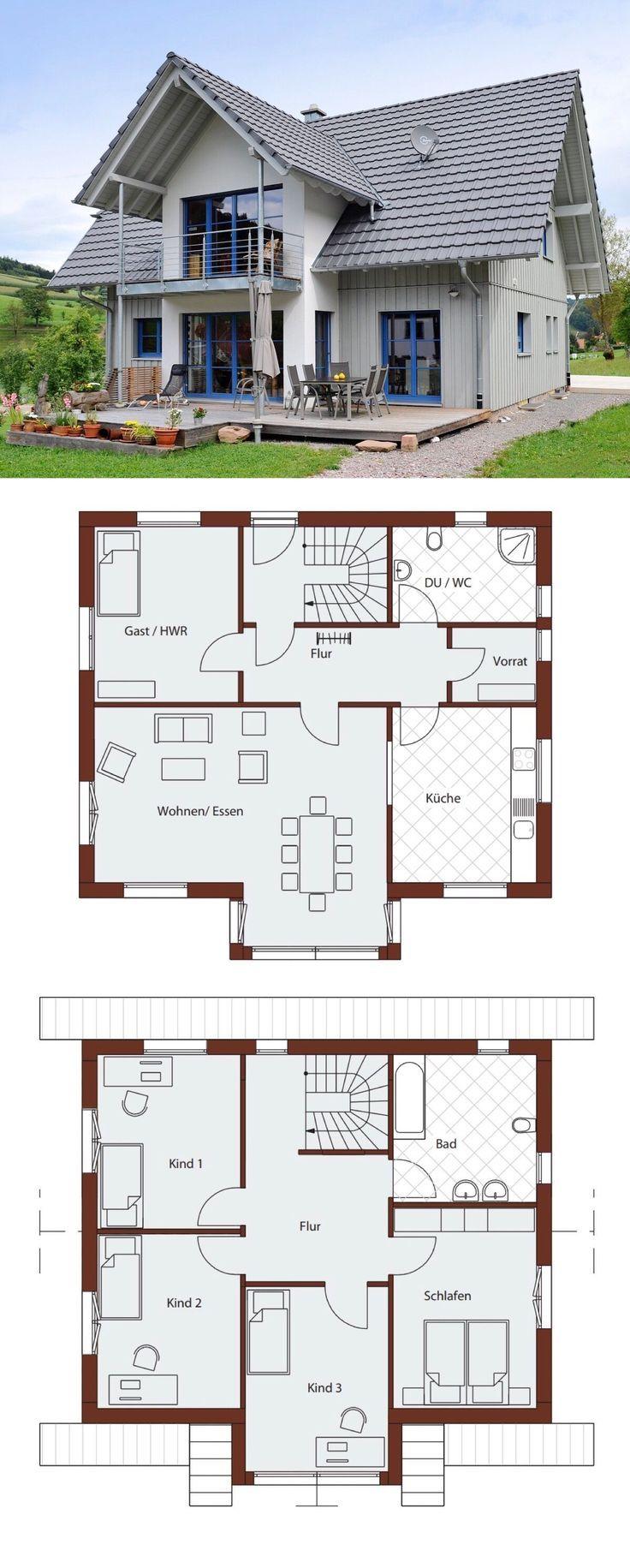 einfamilienhaus neubau modern im landhausstil 6 zimmer grundriss mit satteldach architektur