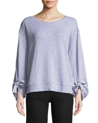 Tie-Sleeve Pullover Sweatshirt, Gray