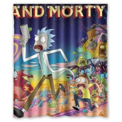 Rick And Morty Intro Shower Curtain Thrftster Rick Morty