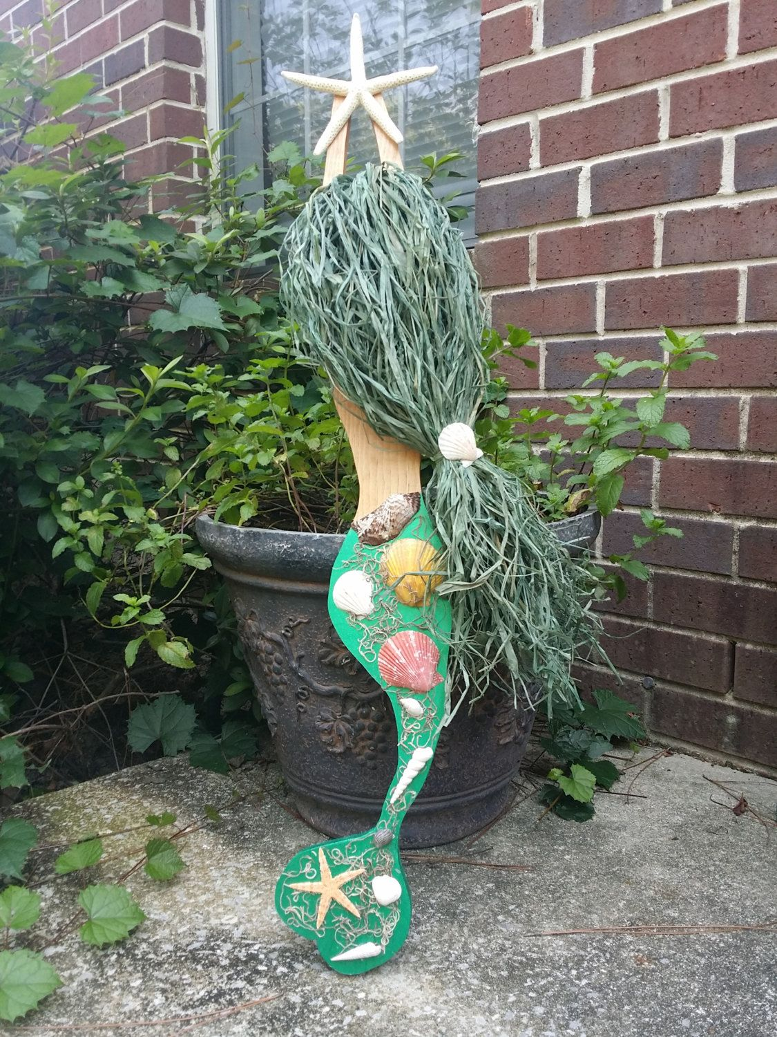 Green Mermaid Wall Hanging: Handmade by JeanneTierneyDesigns on Etsy