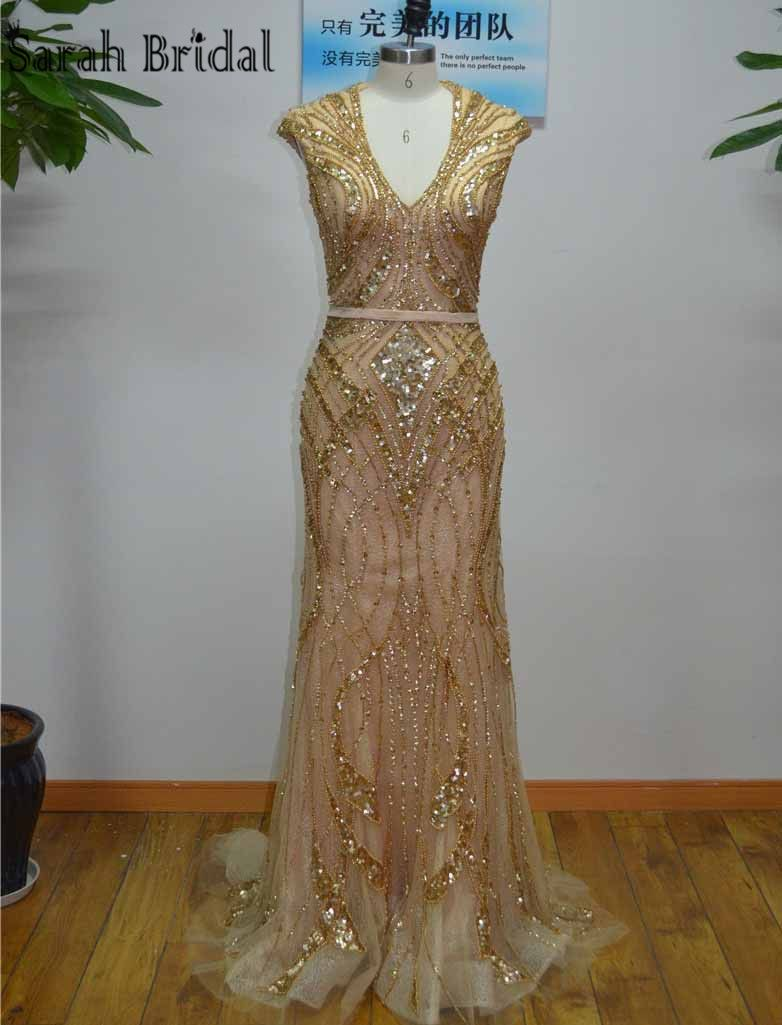 Gorgeous gold beads sequins mermaid evening dresses real photos